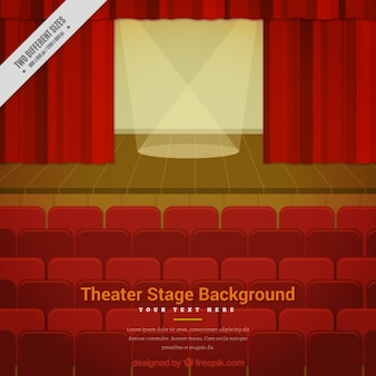 Flat theater background with wooden stage and two spotlights