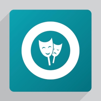 Flat theater icon, white on green background