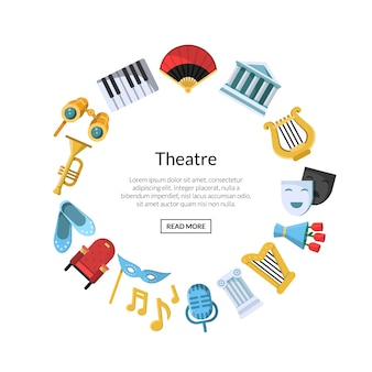 Flat theatre icons in circle
