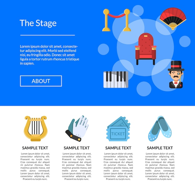 Flat theatre icons landing page template