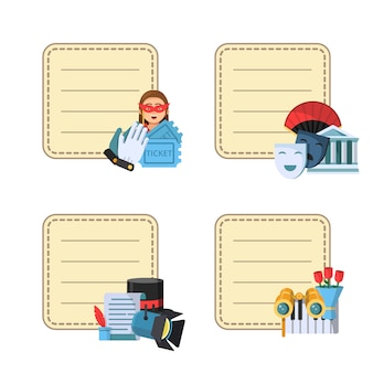 Flat theatre icons stickers with place for notes texts