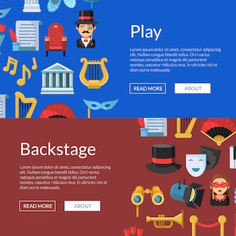 Flat theatre icons web banner