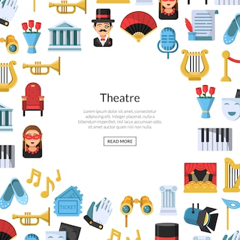 Плоский театральный фон с местом для текста