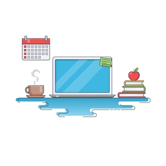 Flat thin line vector illustration of creative workspace