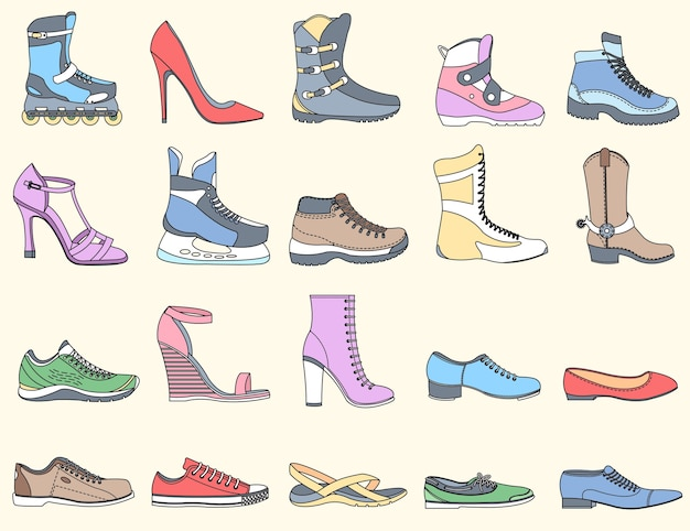 平らな細い線靴セットアイコン要素コンセプト背景イラスト