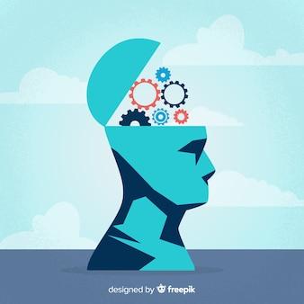 Flat thinking concept