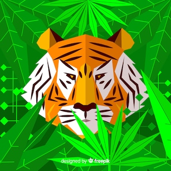 Flat tiger with leaves background