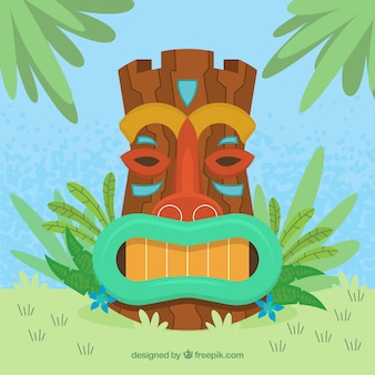 Flat tiki mask with palm leaves