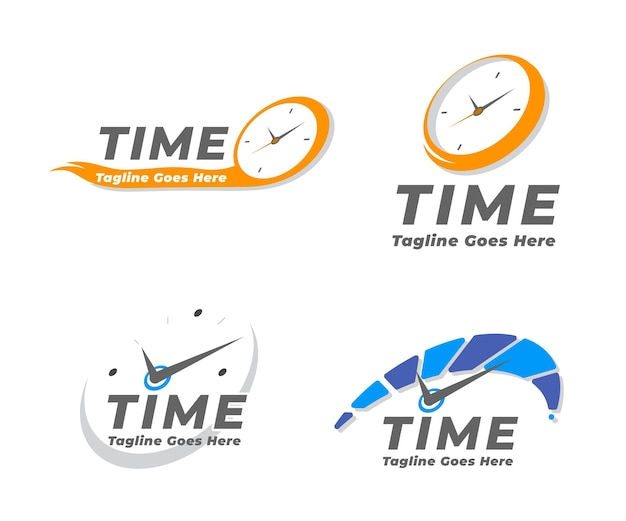 Flat time logo collection