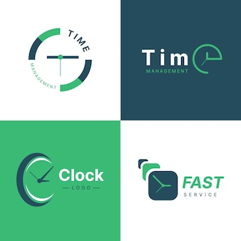 Flat time logo template collection