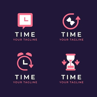Flat time logo templates collection