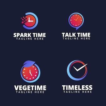 Коллекция логотипов flat time