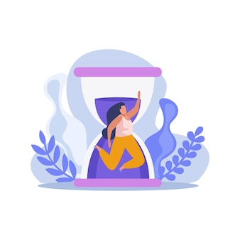 Flat time management concept illustration with hourglass and human character
