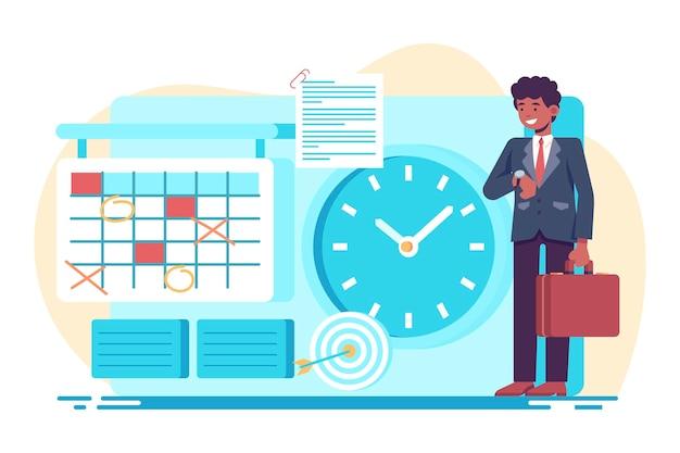 Illustrazione di concetto di gestione del tempo piatto