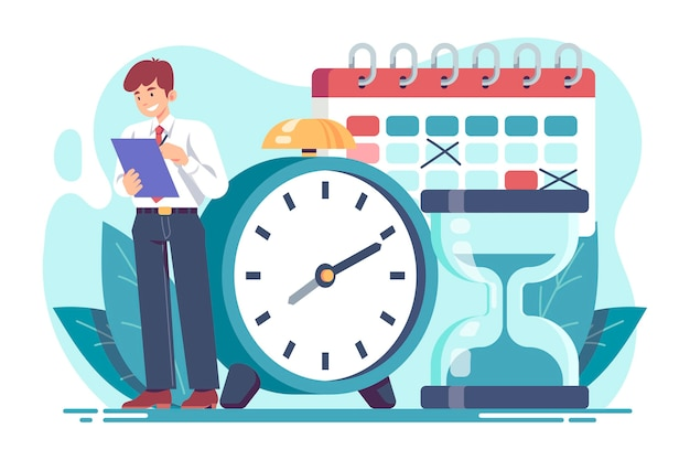 Flat time management concept illustration