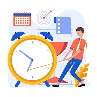 Flat time management illustration