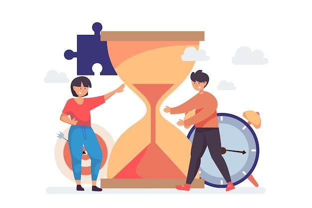 Flat time management illustration