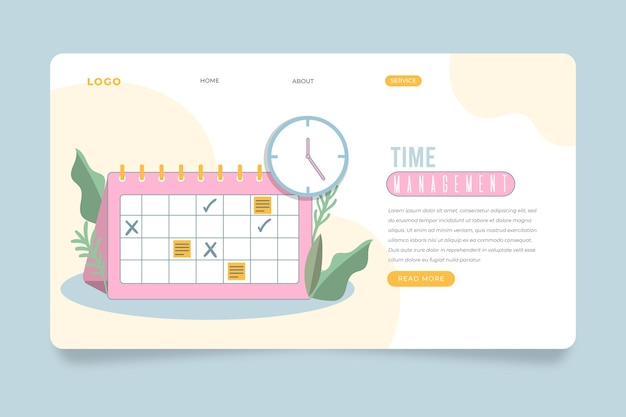 Flat time management landing page
