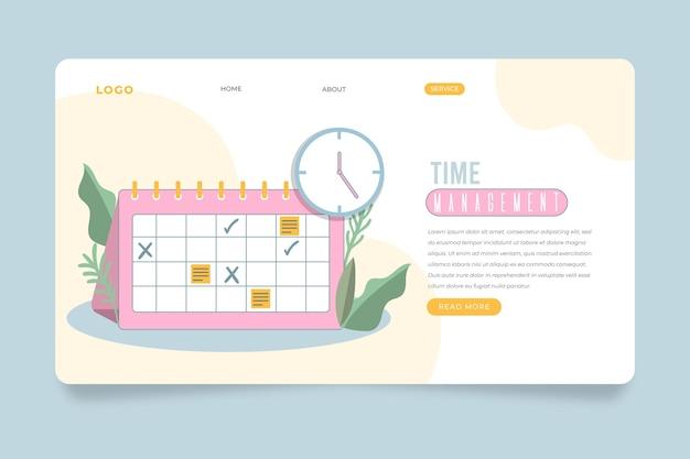 Pagina di destinazione della gestione del tempo piatto