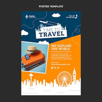 Flat time to travel poster template