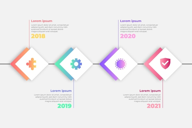 Flat timeline infographic in different colors