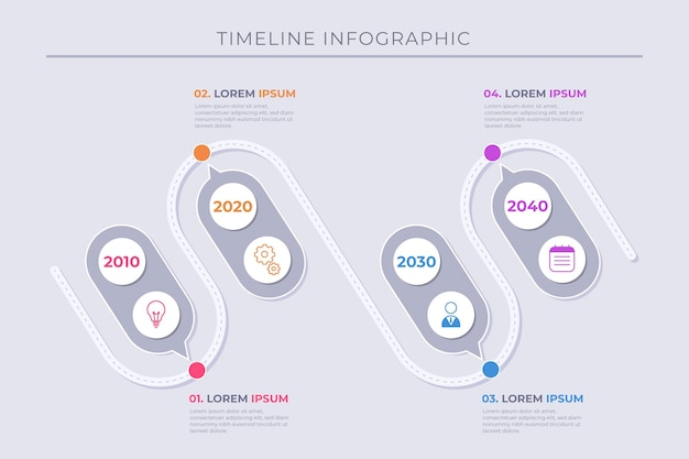 Infografica timeline piatta in diversi colori
