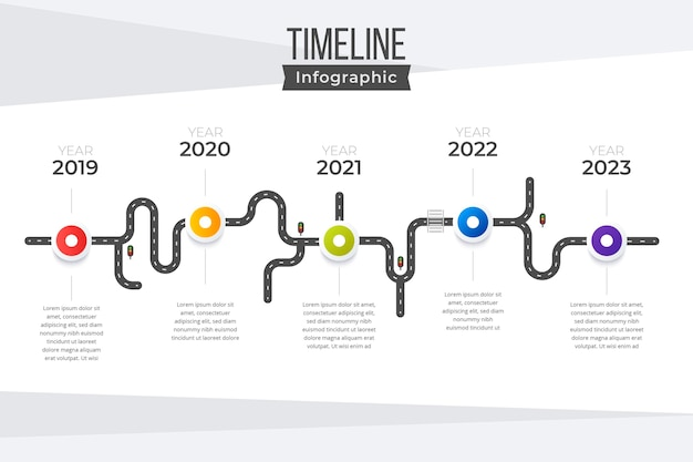 Плоский инфографический шаблон временной шкалы