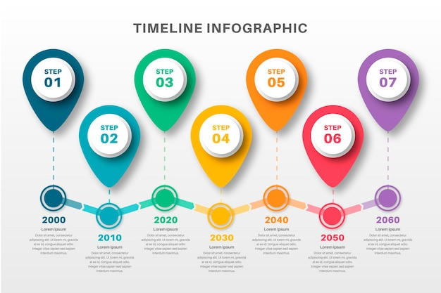 Flat timeline infographic template