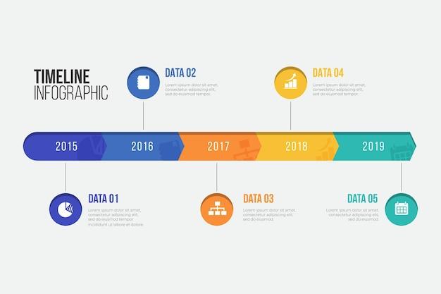 플랫 타임 라인 infographic 템플릿