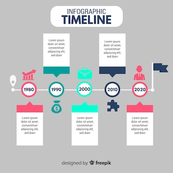 Flat timeline infographic