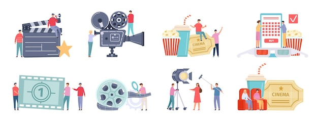 Flat tiny characters recording, making and watching movies. film director, shooting crew, people at cinema. movie production team vector set. man and woman buying tickets online, sitting in armchairs