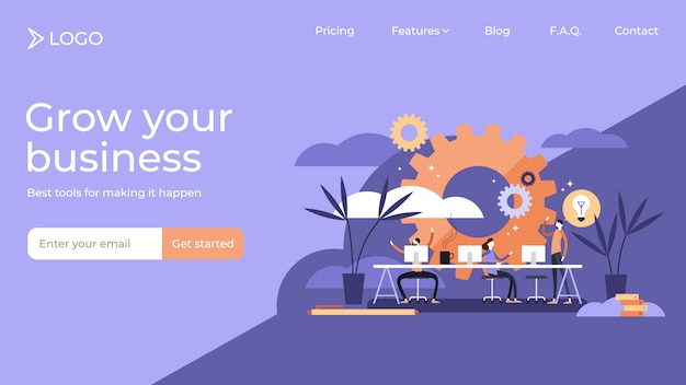 Flat tiny coworking person vector illustration landing page template design