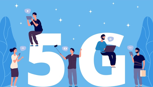 Flat tiny people with phones and laptops on 5g letters