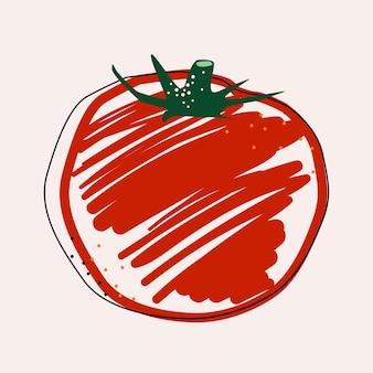 Плоские помидоры изолированные векторные иллюстрации. шаблон для дизайна здорового образа жизни. скандинавский стиль. вегетарианский летний фон. кухонное искусство. свежий плакат. Premium векторы