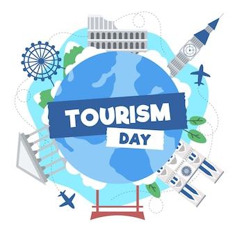 Плоская иллюстрация дня туризма с разными достопримечательностями