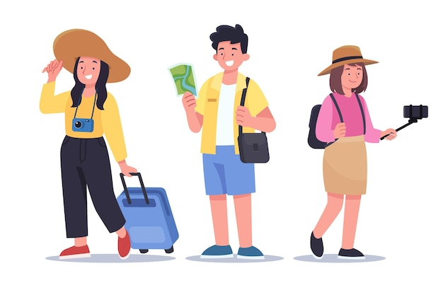 휴가 준비가 된 평평한 관광객