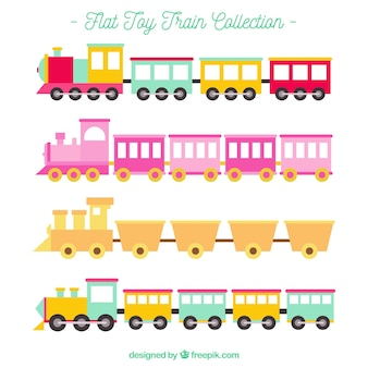 Flat toy train collection