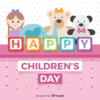 Flat toys childrens day background