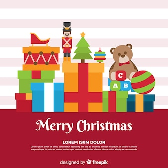 Flat toys christmas background template