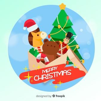 Flat toys christmas background