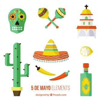 Flat traditional mexican objects