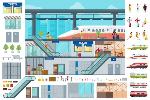 Flat train station infographic concept