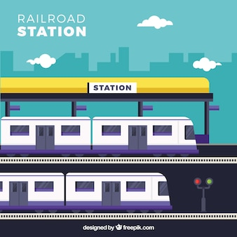 Flat train station with purple details