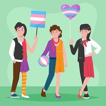 Плоские трансгендеры проиллюстрированы