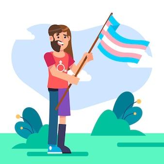 示されている平らなトランスジェンダーの人