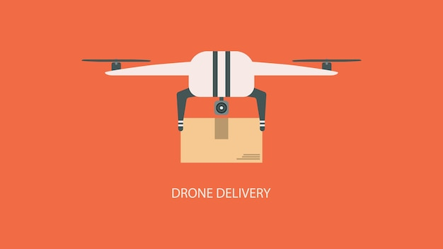 Плоская транспортная концепция. дрон доставки с пакетом