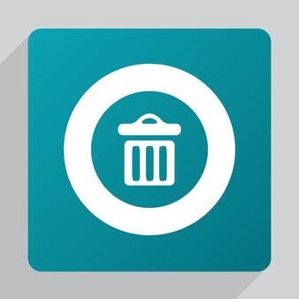 평면 쓰레기통 아이콘, 녹색 배경에 흰색
