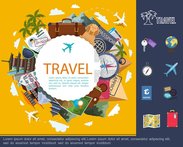 Flat travel around world concept with globe plane baggage map documents sunglasses compass camera tickets and famous sights  illustration,