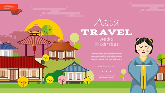 Flat travel to asia background