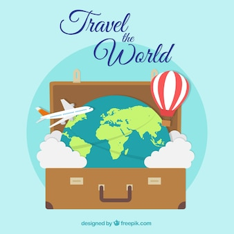Flat travel background with suitcase and clouds